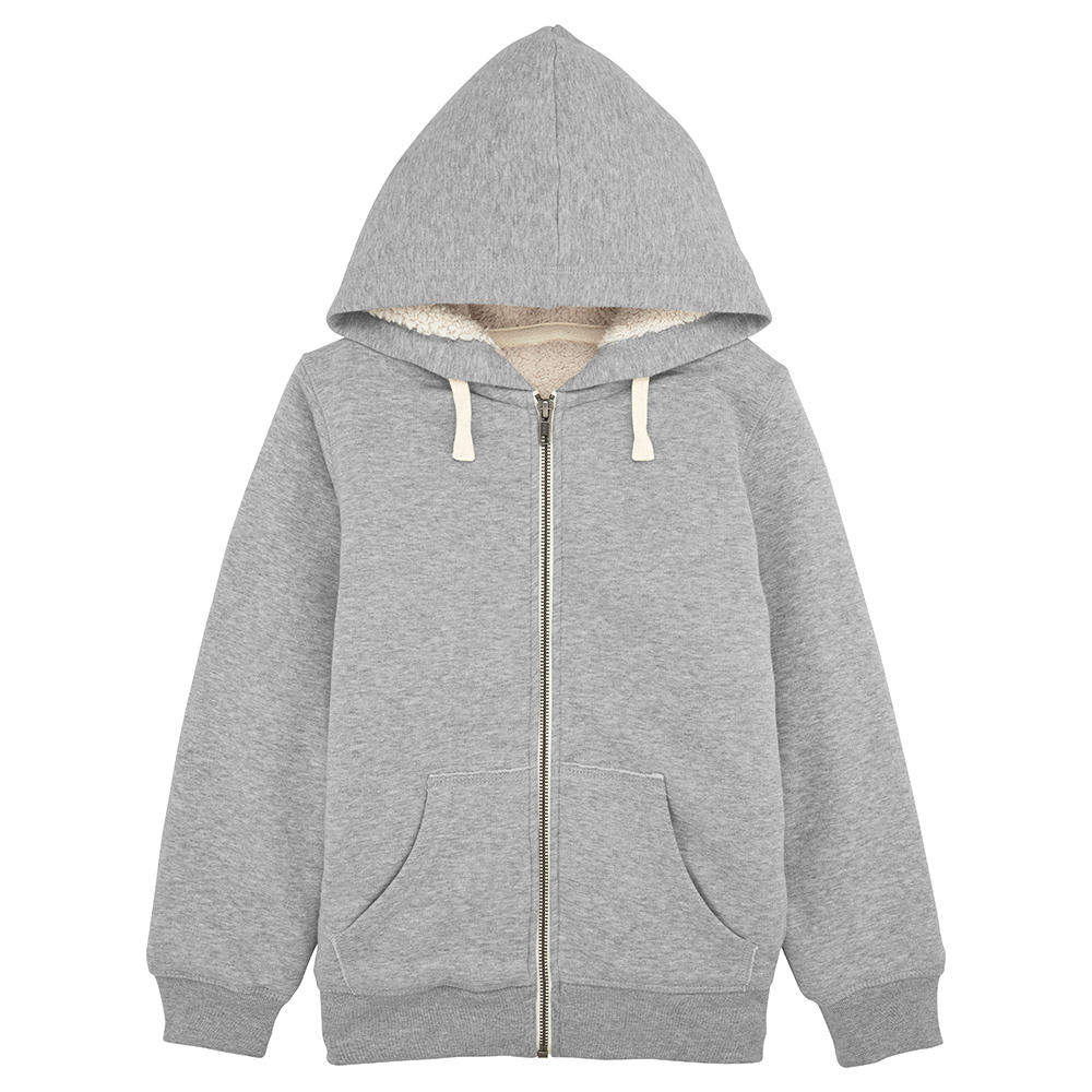 Sweat enfant personnalisable - Veste polaire gris chiné - Atelier du Quai