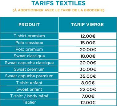 Broderie personnalisée - Tarifs textiles - Atelier du Quai