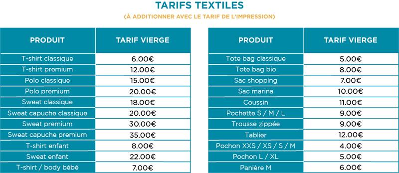 Impression textile - Tarifs textiles - Atelier du Quai